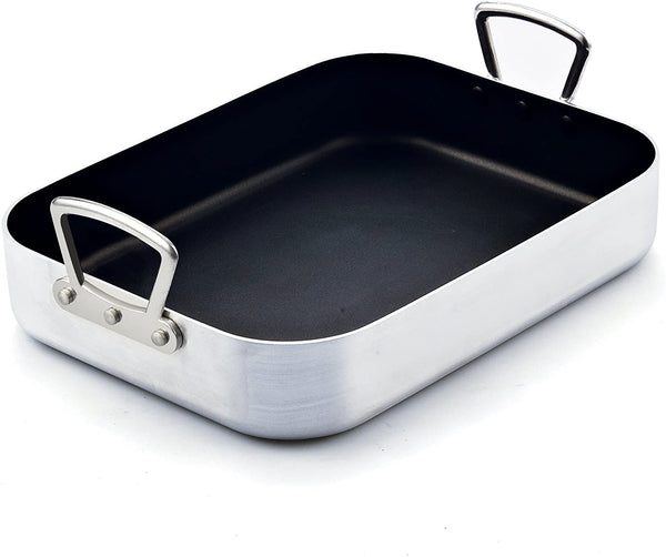 Cook N Home 16 by 12-Inch Pan, Black Nonstick Bakeware Roaster with Rack