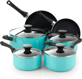 Cook N Home 02692 10 Piece Nonstick Cookware Set Turquoise Color