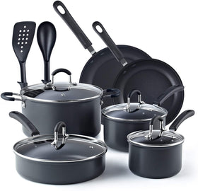 Cook N Home Hard Anodized Nonstick 12-Piece  Cookware Set