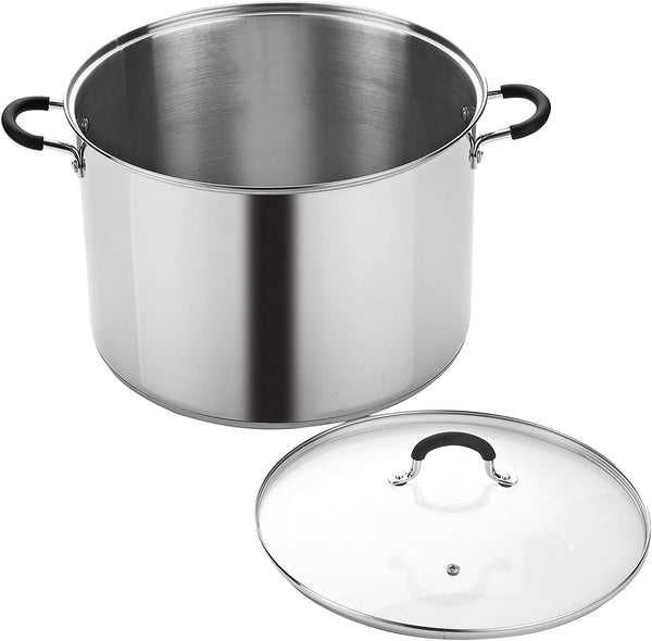Cook N Home 20 Stainless Steel Saucepot with Lid Quart Stockpot, QT, Silver