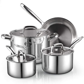 Cook N Home 02644 7-Piece Tri-Ply Clad Stainless Steel Cookware Set