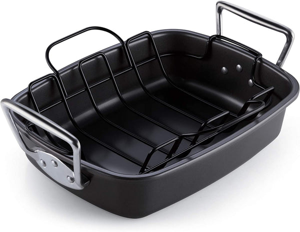 Cook N Home Nonstick Bakeware Roaster with Rack, 17x13-inches, Black