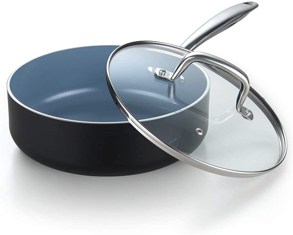 Cook N Home Ceramic Nonstick Coating Deep Saute Fry Pan with Lid 3.5-Qt, Grey