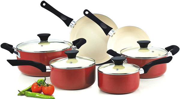 Cook N Home Ceramic coating cookware set 10-Piece, Red