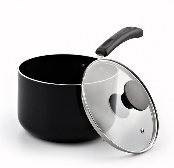 Cook N Home Nonstick Sauce Pan with Lid, 3-Qt, Black, 3-Quart
