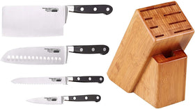 Cooks Standard 5 Piece Asian Gourmet Chef Knife Set with Expandable Bamboo Block