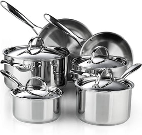 Cooks Standard Classic Stainless Steel Cookware Set 10-Piece Industcion Compatible