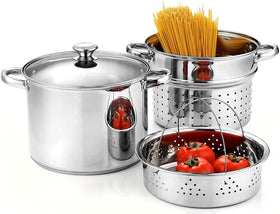 Cook N Home 4-Piece Stainless Steel Pasta Cooker Steamer Multipots, Silver