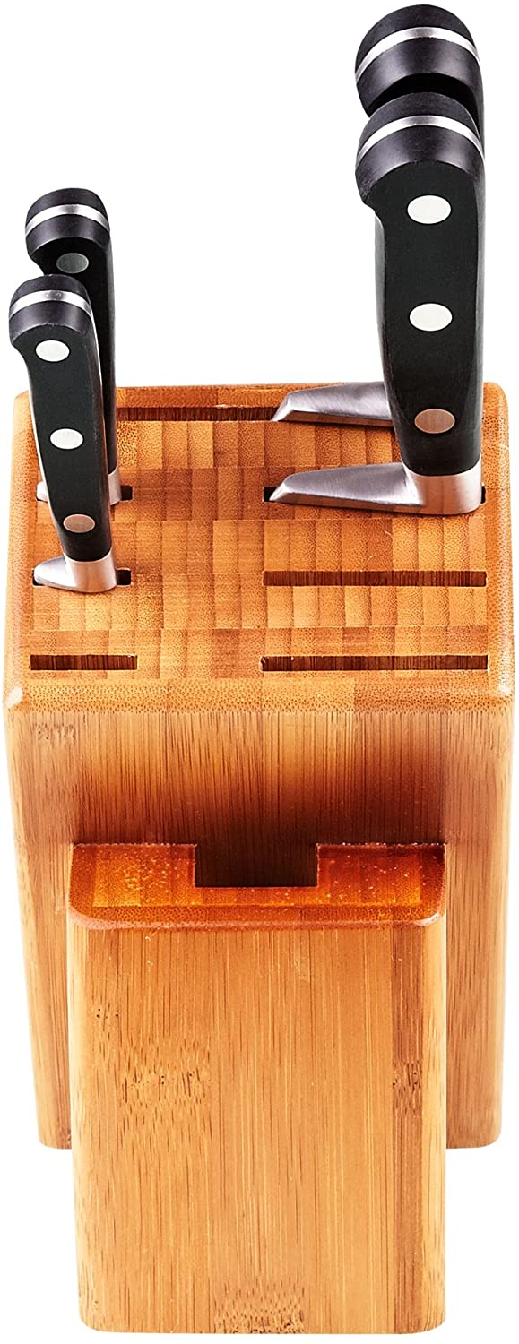 Cooks Standard 5 Piece Asian Gourmet Chef Knife Set with Expandable Bamboo Block, Stainless Steel