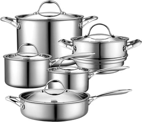 Cooks Standard 10 Piece Multi-Ply Clad Stainless Steel Cookware Set,
