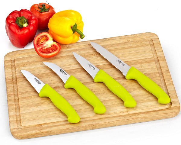 Cook N Home Stainless Steel Knife Set, Utility, Paring Vegetable, and Peeling, Green
