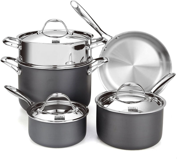 Cooks Standard, Stainless Steel 8-Piece Multi-Ply Clad Hard Anodized Cookware Set, Black