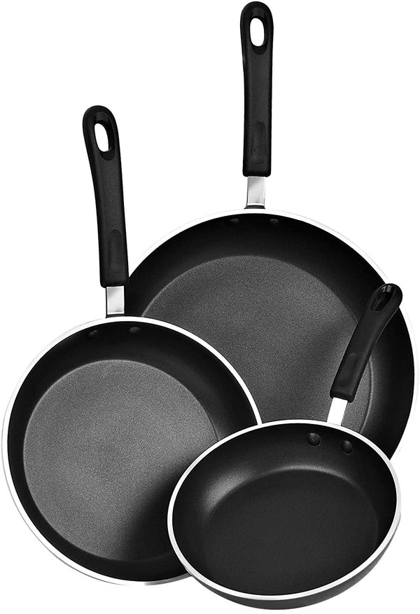 Cook N Home 3-Piece set Saute Pan with Non-Stick Coating Induction Compatible Bottom, Black, Large