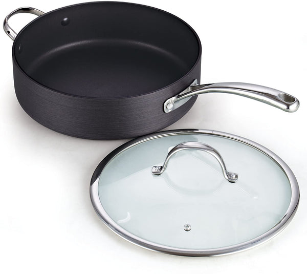 Hard Anodized Nonstick Deep Saute pan with Lid 5QT 11-inch