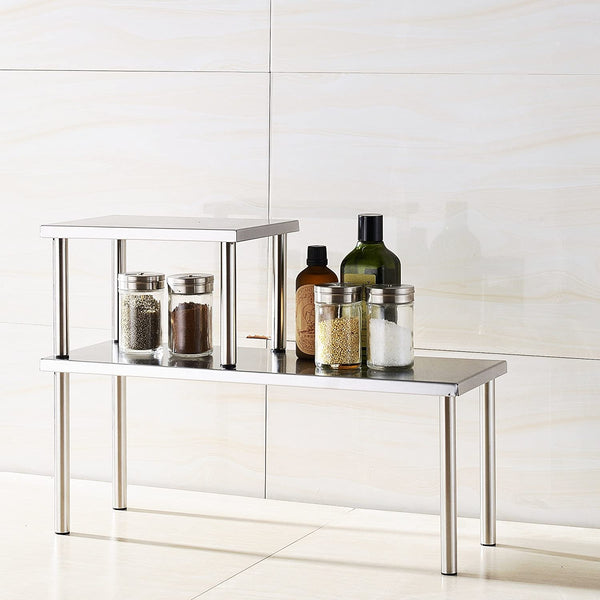 Cook N Home 2-Tier Stainless Steel Counter Storage Shelf Organizer