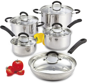 Cook N Home 10-Piece Stainless Steel Cookware Set Stay Cool Handle