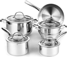 Cooks Standard Classic Stainless Steel Cookware 9-Piece Set Glass Lid