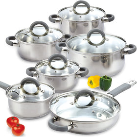 Cook N Home Stainless Steel Cookware Set 12-PC set
