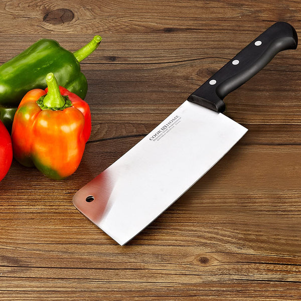 Cook N Home 2462 7-Inch Multi-Purpose Chef Butcher Knife Heavy Duty Chopper Cleaver, Stainless Steel