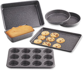 Cook N Home 6-Piece Heavy Gauge, Cake/Cookie/Muffin/Loaf Nonstick Bakeware Set, Black