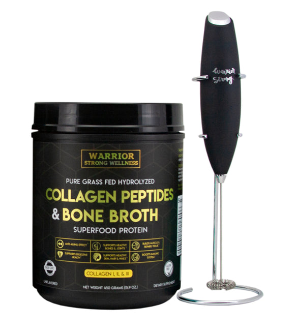 Collagen Peptides and Bone Broth Protein Powder Bundle with Frother