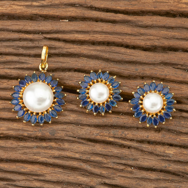 Pearl and Sapphire Pendant Set