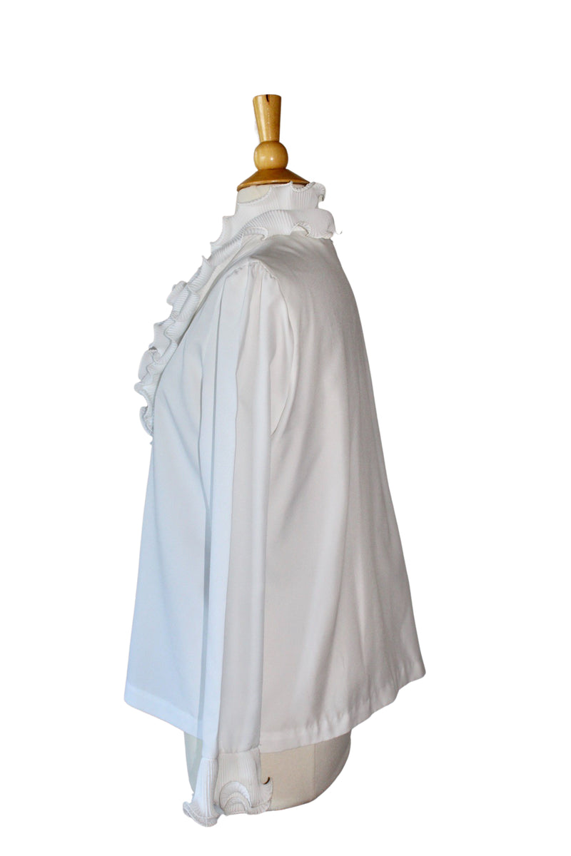1970's White Pleated Ruffle Neckline Blouse