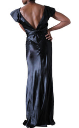 1930's Black Bias Cut Silk Satin Flutter Sleeve Gown