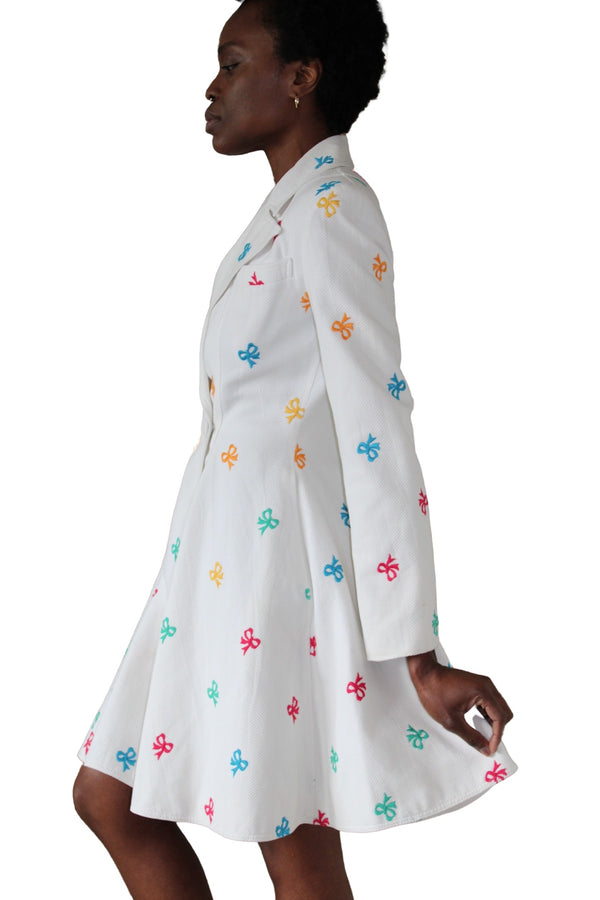 1988 Patrick Kelly White Cotton Pique Coat Dress w/Multicolored Bows