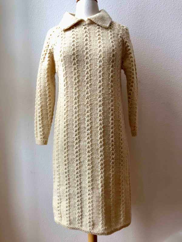 Ivory Vintage Hand Knit Irish Wool Sweater Dress