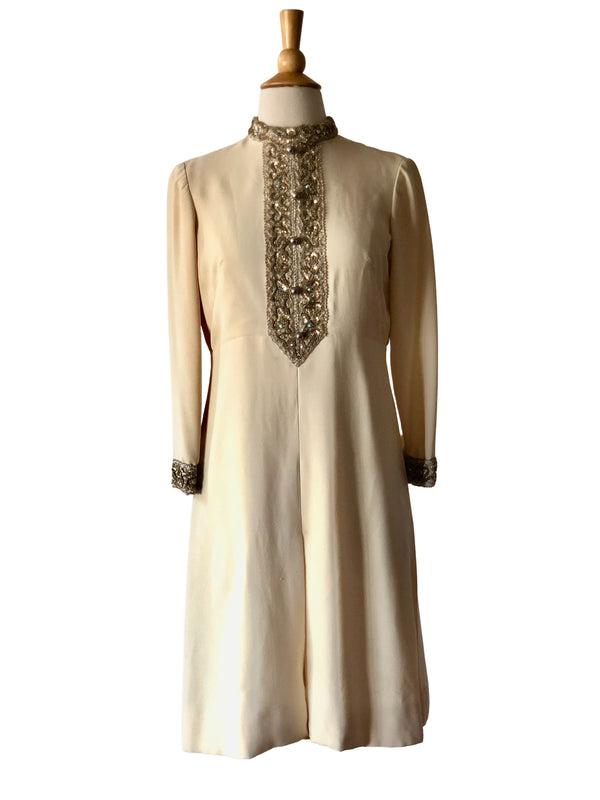 1960's Ivory Mod Embroidered A-line Mini Dress