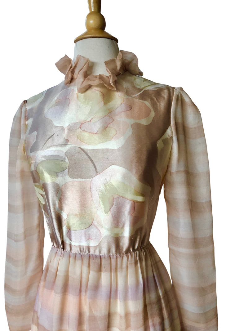 1960's Richilene Pink Watercolor Floral Print Silk Cocktail Dress