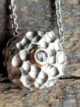 Load image into Gallery viewer, Luna, Textured Sterling Silver, 14k Gold and Diamond Pendant