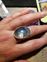 Load image into Gallery viewer, Blue Sapphire Twig Ring, in Sterling Silver with a 18k Yellow Gold Bezel