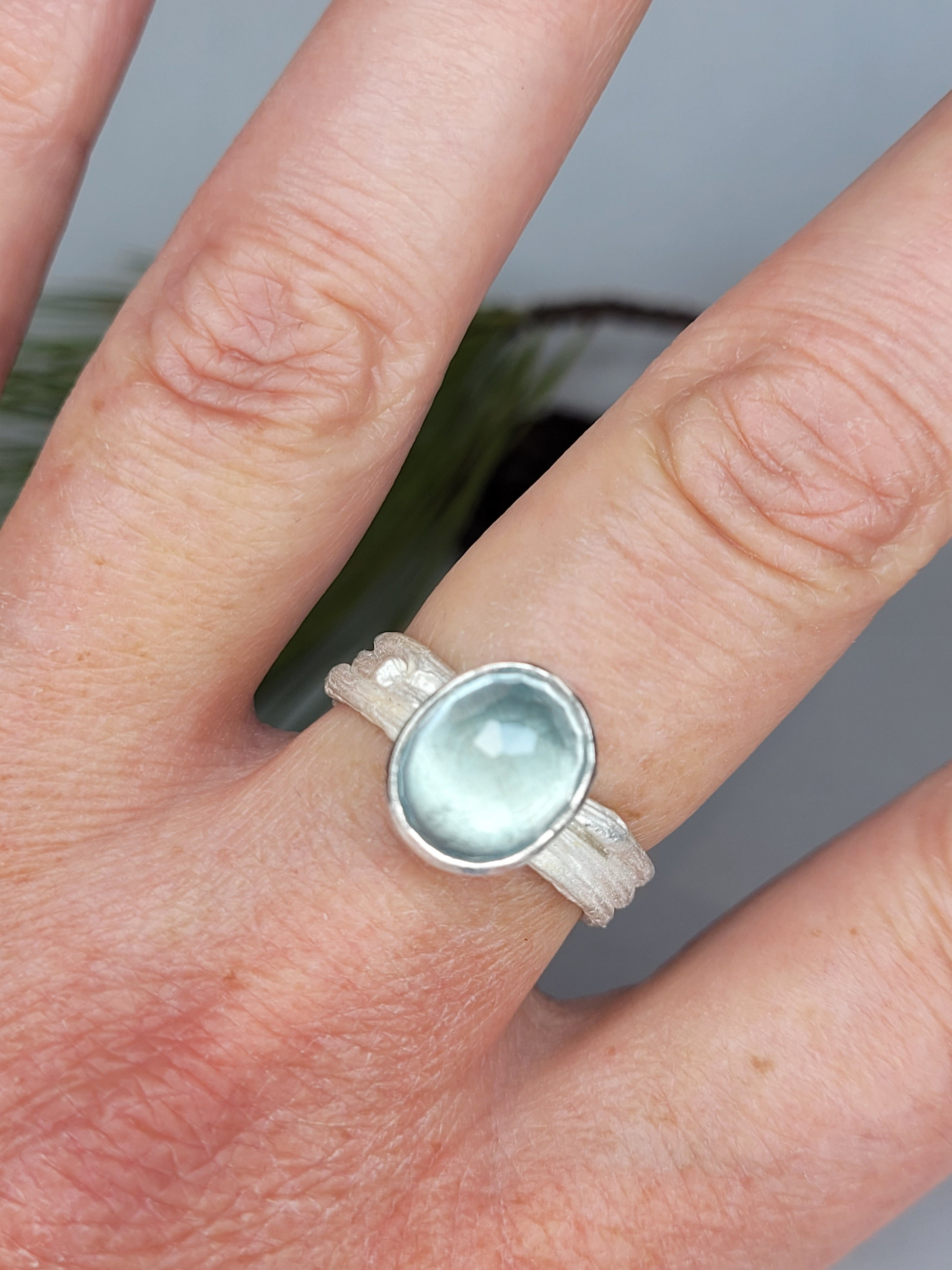 Moss Aquamarine on a multiple Twig Ring in Sterling Silver