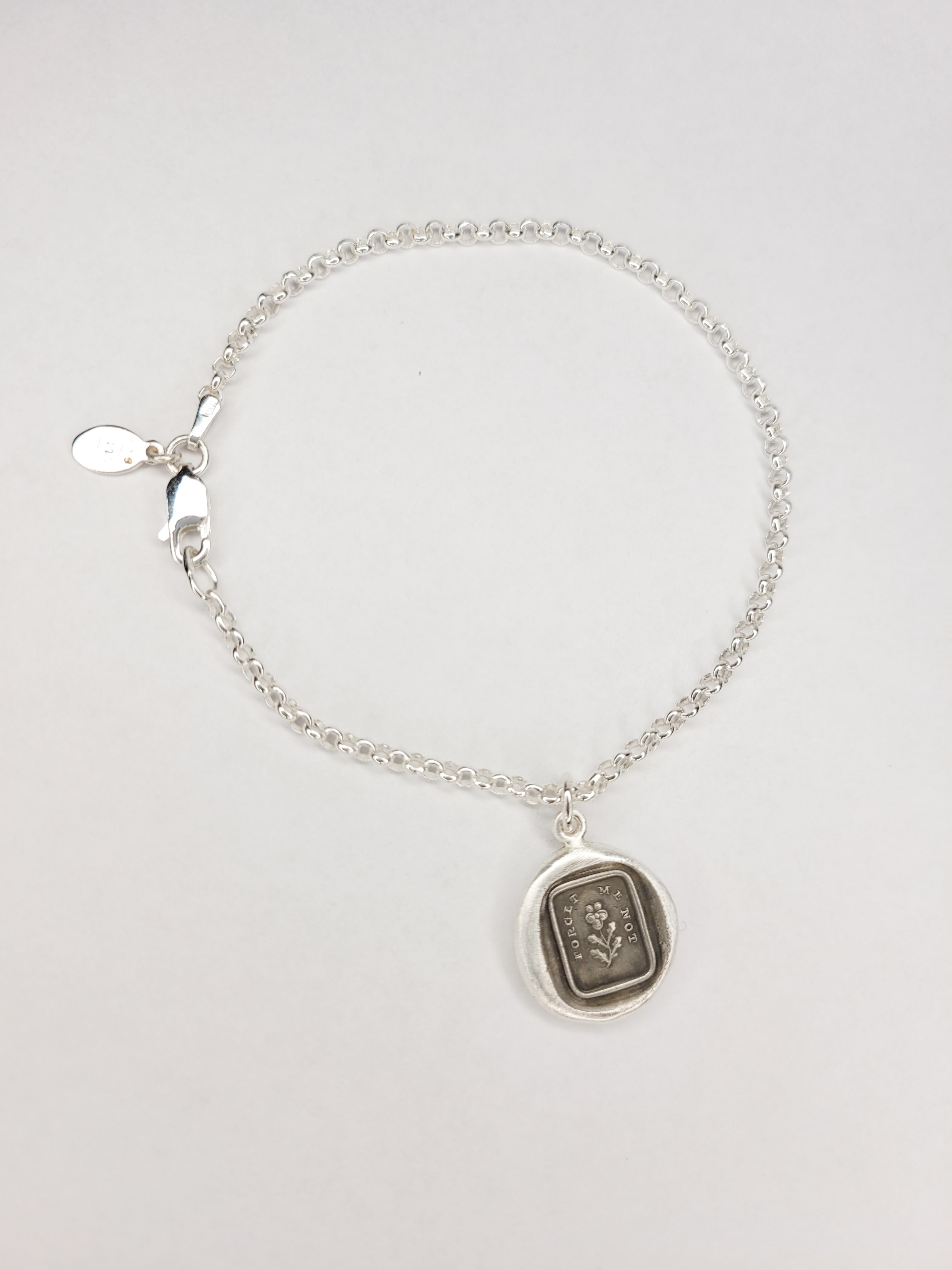 """Forget me not"" Charm in Recycled fine Silver"