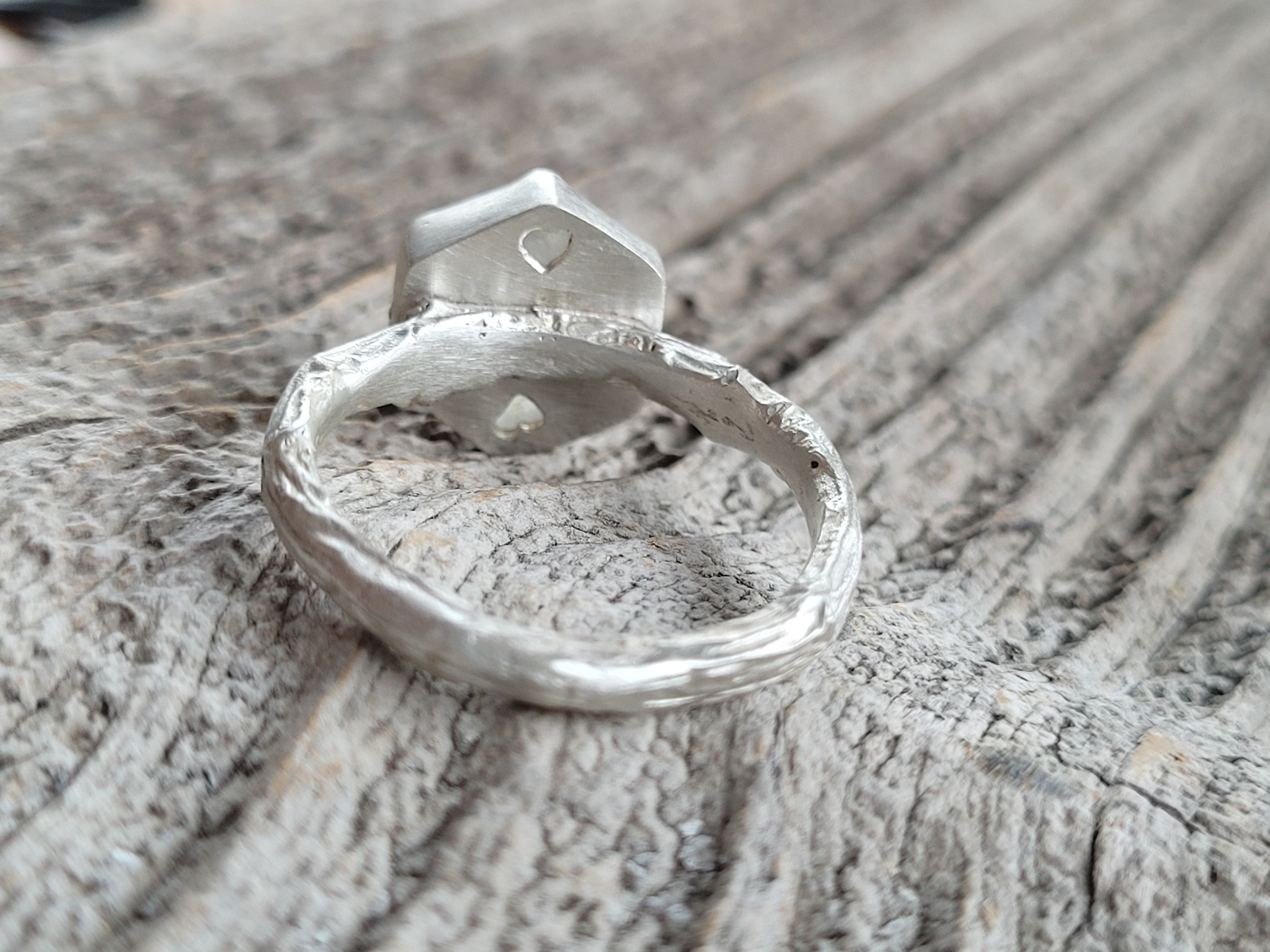 Hexagon Naturel rainbow moonstone on a Twig Ring in Sterling Silver
