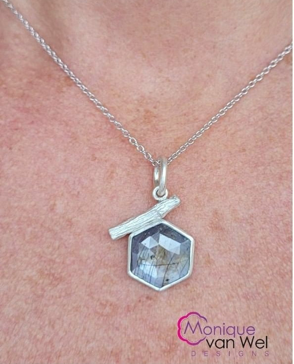 Gray/lavender Hexagon Sapphire Twig Pendant in Sterling Silver