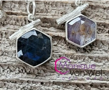 Load image into Gallery viewer, Gray/lavender Hexagon Sapphire Twig Pendant in Sterling Silver