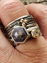 Load image into Gallery viewer, Laverder hexagon Sapphire Twig Ring in Sterling Silver