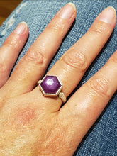 Load image into Gallery viewer, Hot Pink hexagon Sapphire Twig Ring in Sterling Silver