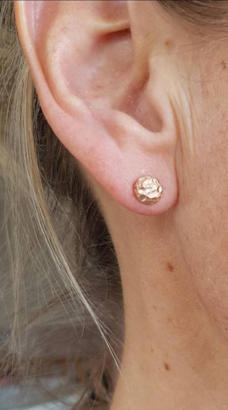 Textured Rose Gold Studs