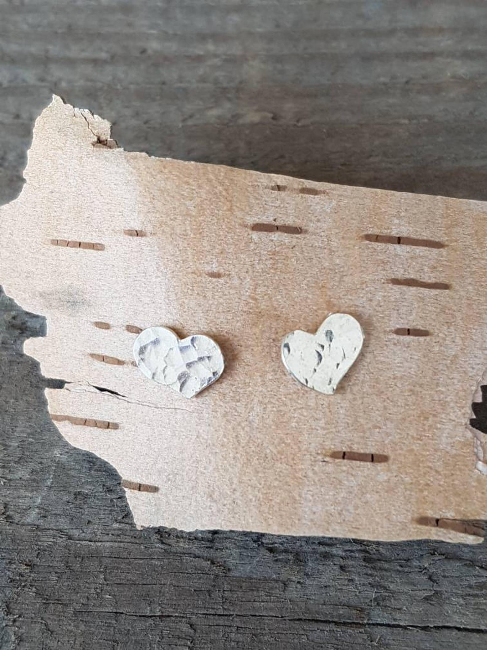 Hammered Silver Heart Studs
