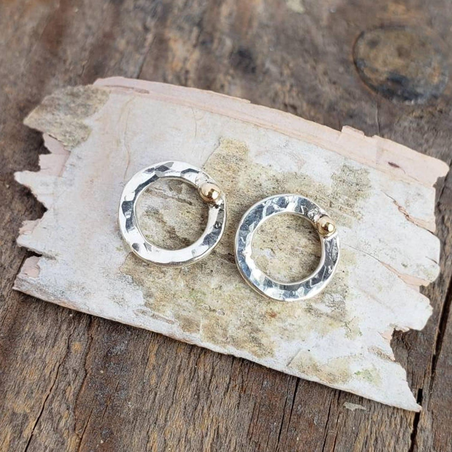 Hammered Silver Circle with 18k Gold Accent Earrings Studs