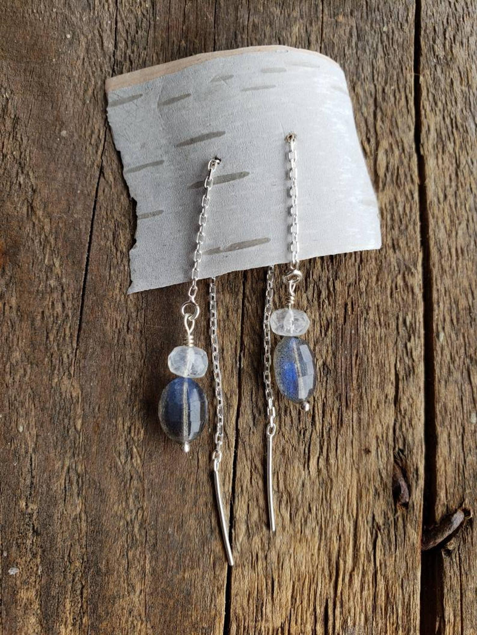 Oval Labradorite, Rainbow Moonstone, Rope Earrings