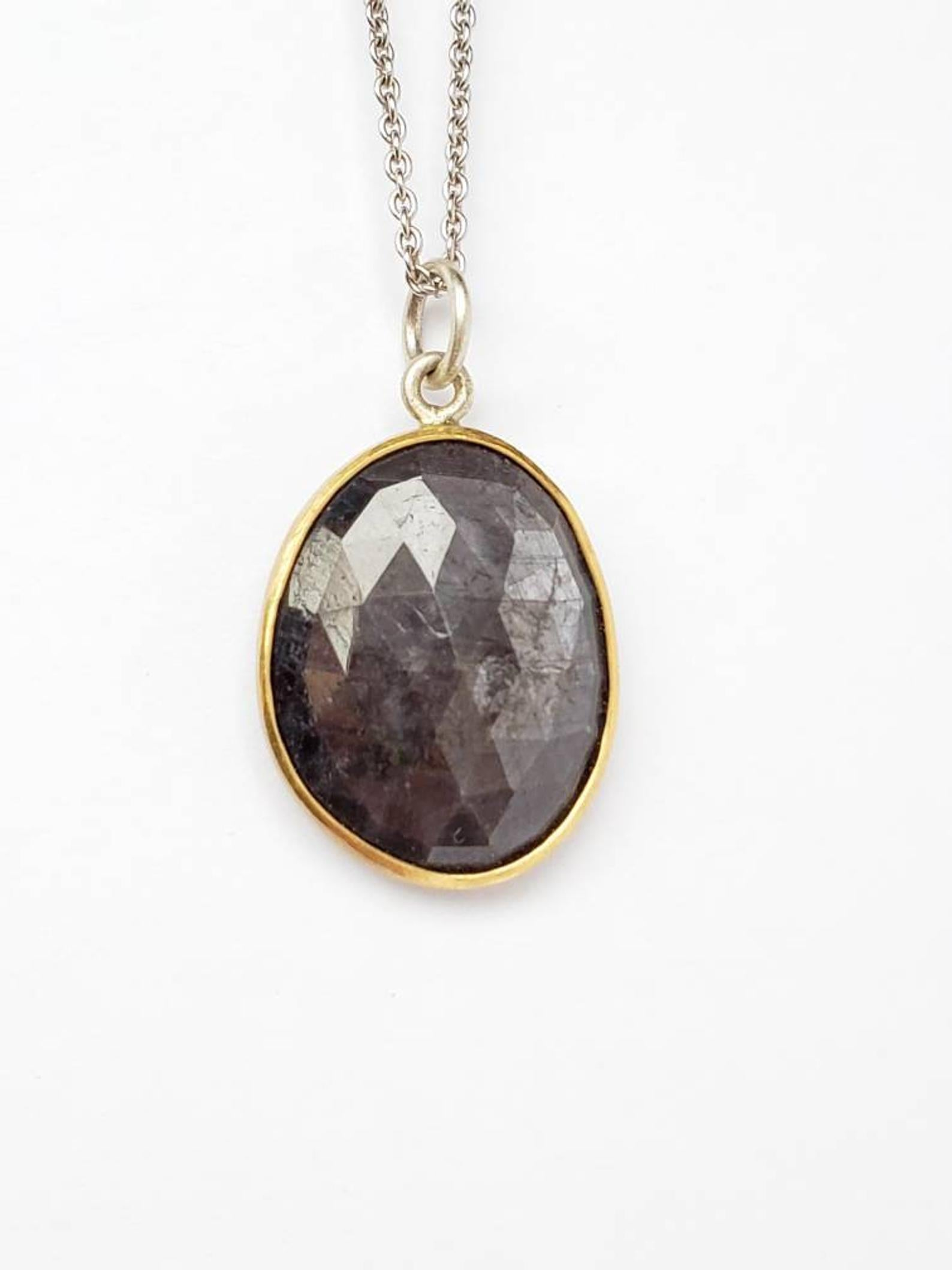 Black/Gray Sapphire Pendant , Set in 18k Gold, Sterling Silver, 9 Hearts