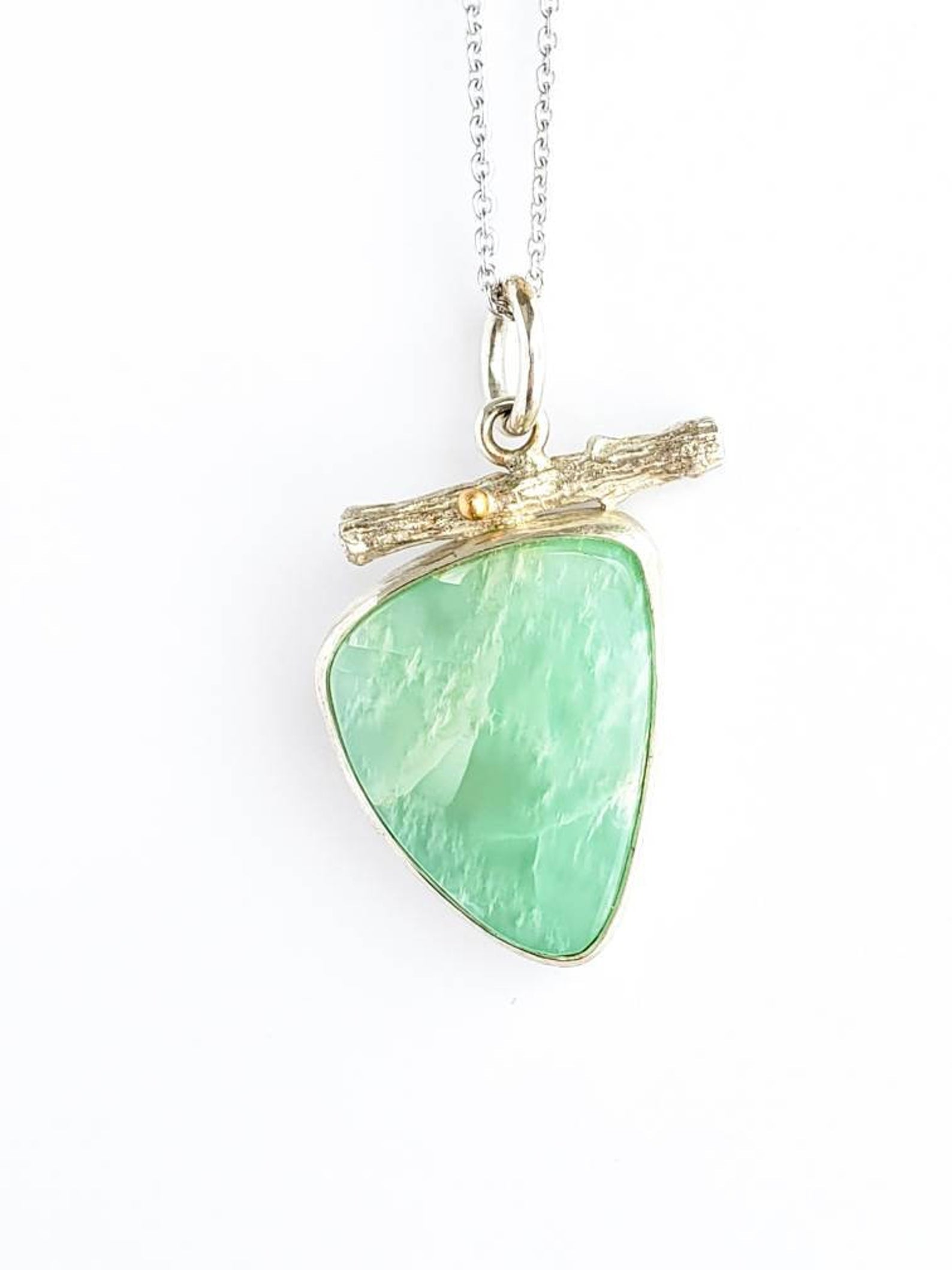 Parrot Green Moonstone Twig Pendant in18k Gold and Sterling Silver