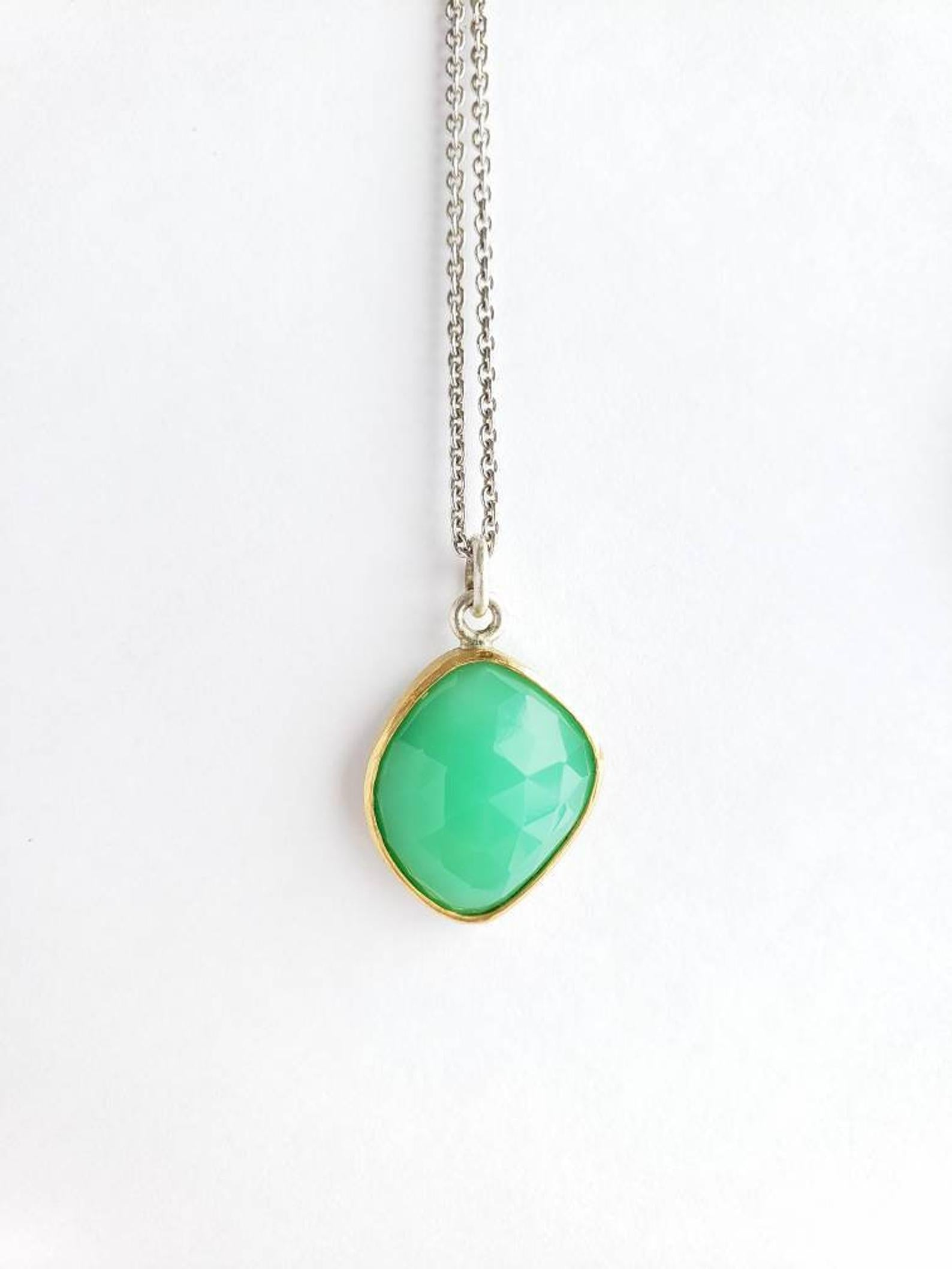 Chrysoprase Pendant , Set in 18k Gold, Sterling Silver, 4 Hearts