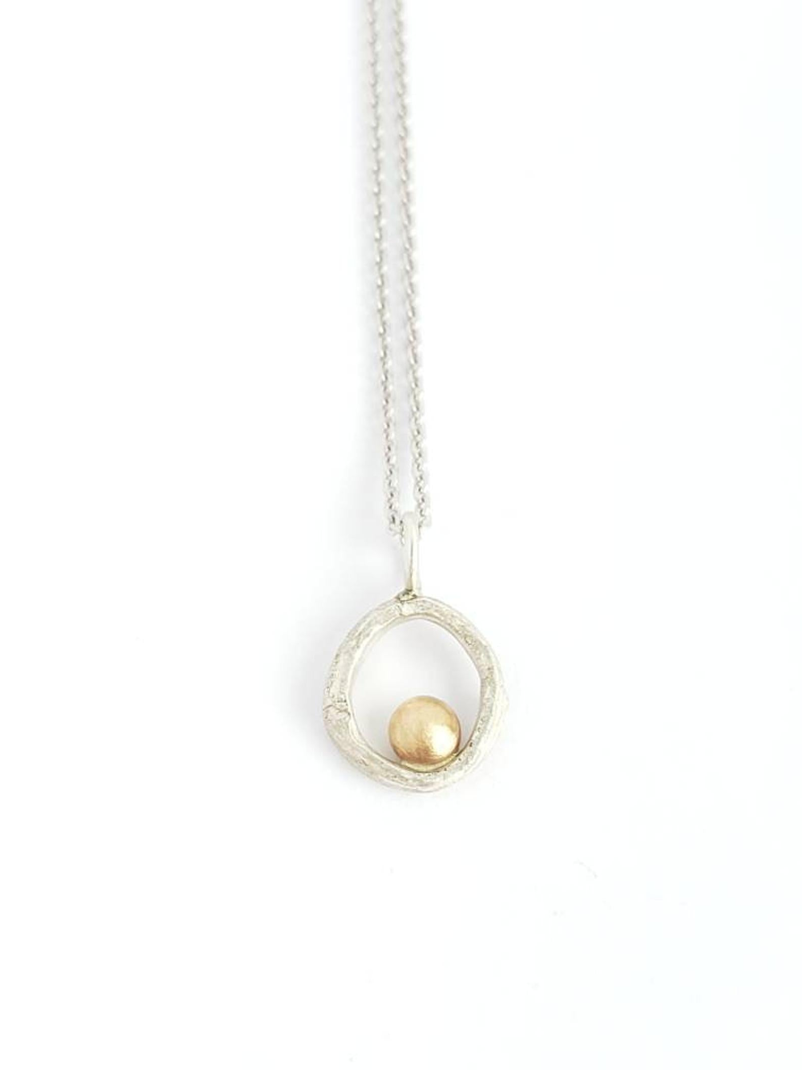 Sterling Silver, Twig Pendant with 14k Gold Pebble