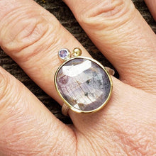Load image into Gallery viewer, Purple/pink Sapphire Twig Ring in Sterling Silver with a 18k Yellow Gold Bezel